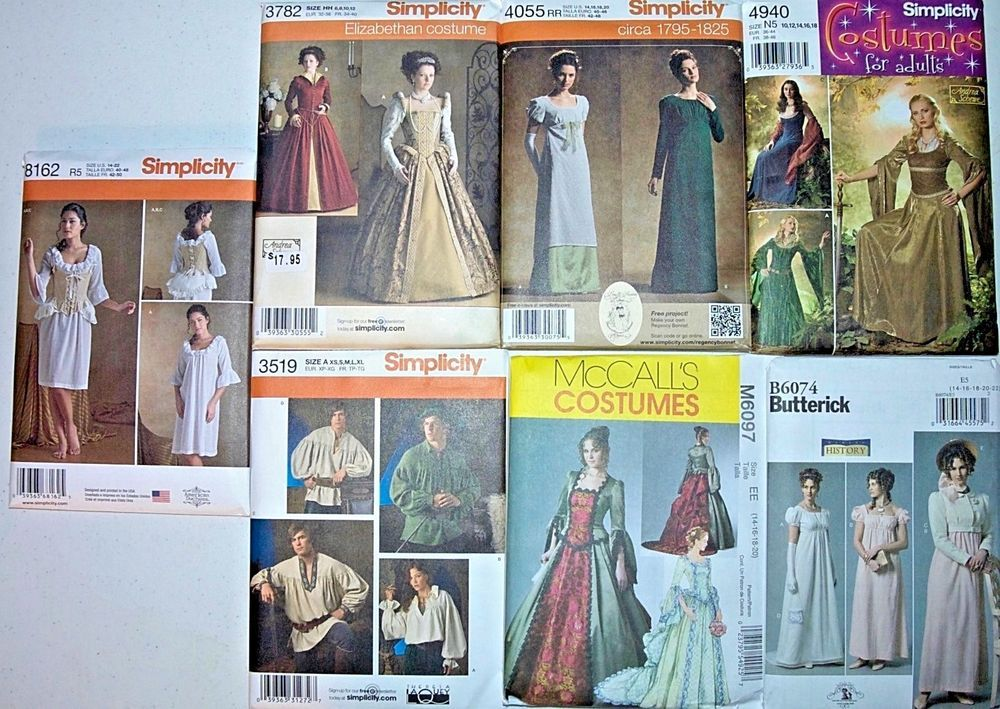 Tudor Renaissance Regency Bustle Costume Empire Medieval NEW Patterns #SimolicityMcCallsButterick