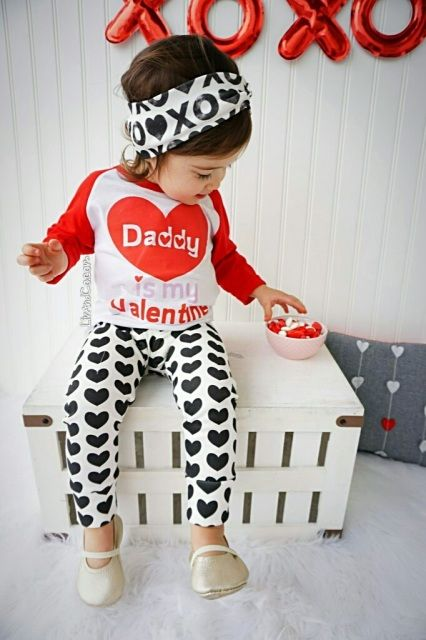 b199d1c40 Handmade, baby girl 'Daddy is my Valentine' t shirt. This little girl  Valentine's Day outfit says it all about Daddy's little girl!