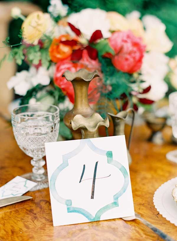 Calligraphy Table Number by Paperfinger, Photo by Jen Huang Photography