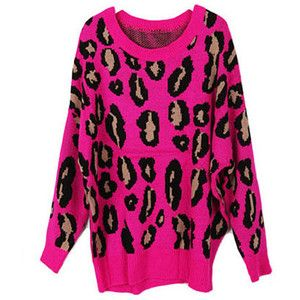 Roseo Loose Long Batwing Sleeves Sweaters in Leopard Print ...