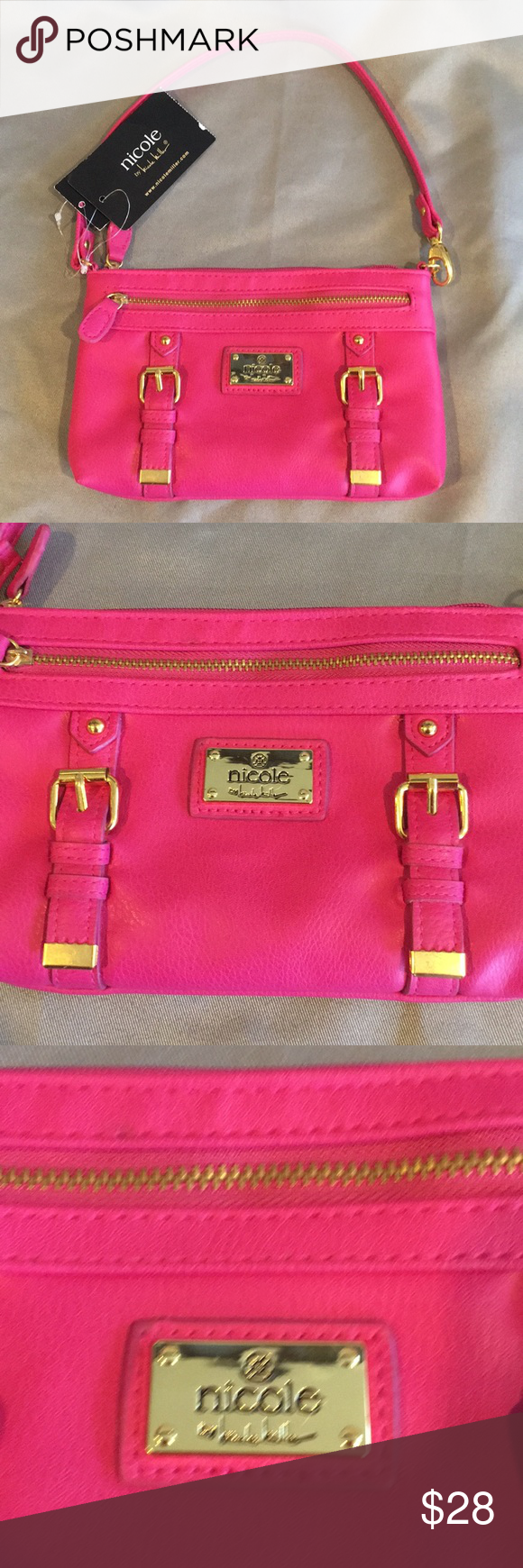NWT Nicole Miller Pink & Gold Clutch Wristlet Gold