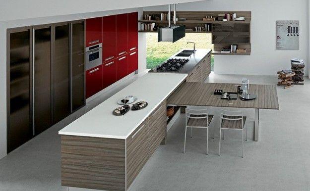 Cucina Tavolo A Scomparsa.Cucina Penisola Estraibile Modern Kitchen Design Dining Room