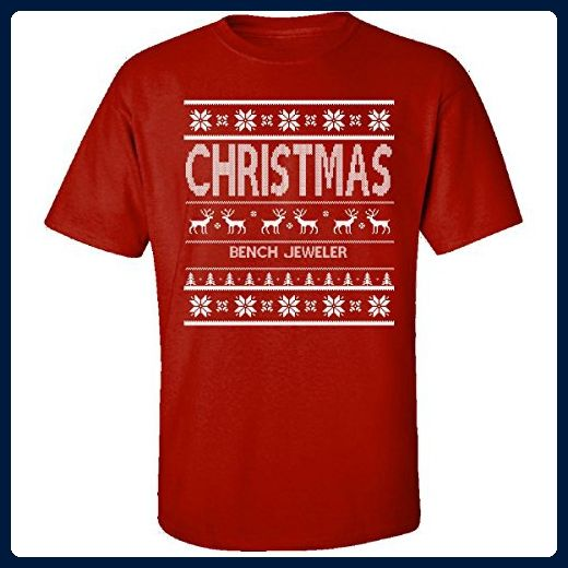Christmas Bench Jeweler Ugly Sweater - Adult Shirt L Red - Holiday and seasonal shirts (*Amazon Partner-Link)