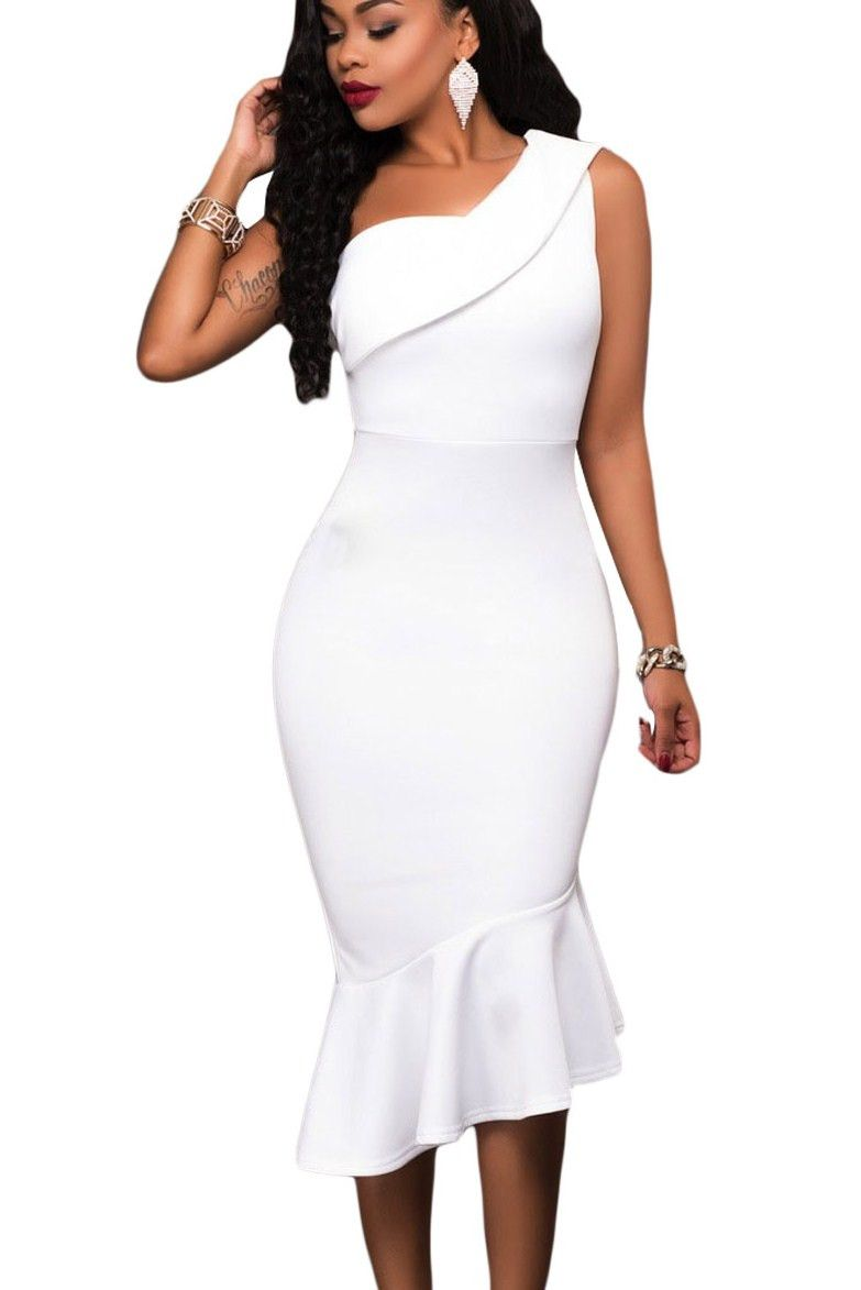 60dc2af1ff8 Robe Midi Moulante Blanche Une Epaule Asymetrique Sirene Pas Cher  www.modebuy.com  Modebuy  Modebuy  Blanc  me  soldes  vêtements