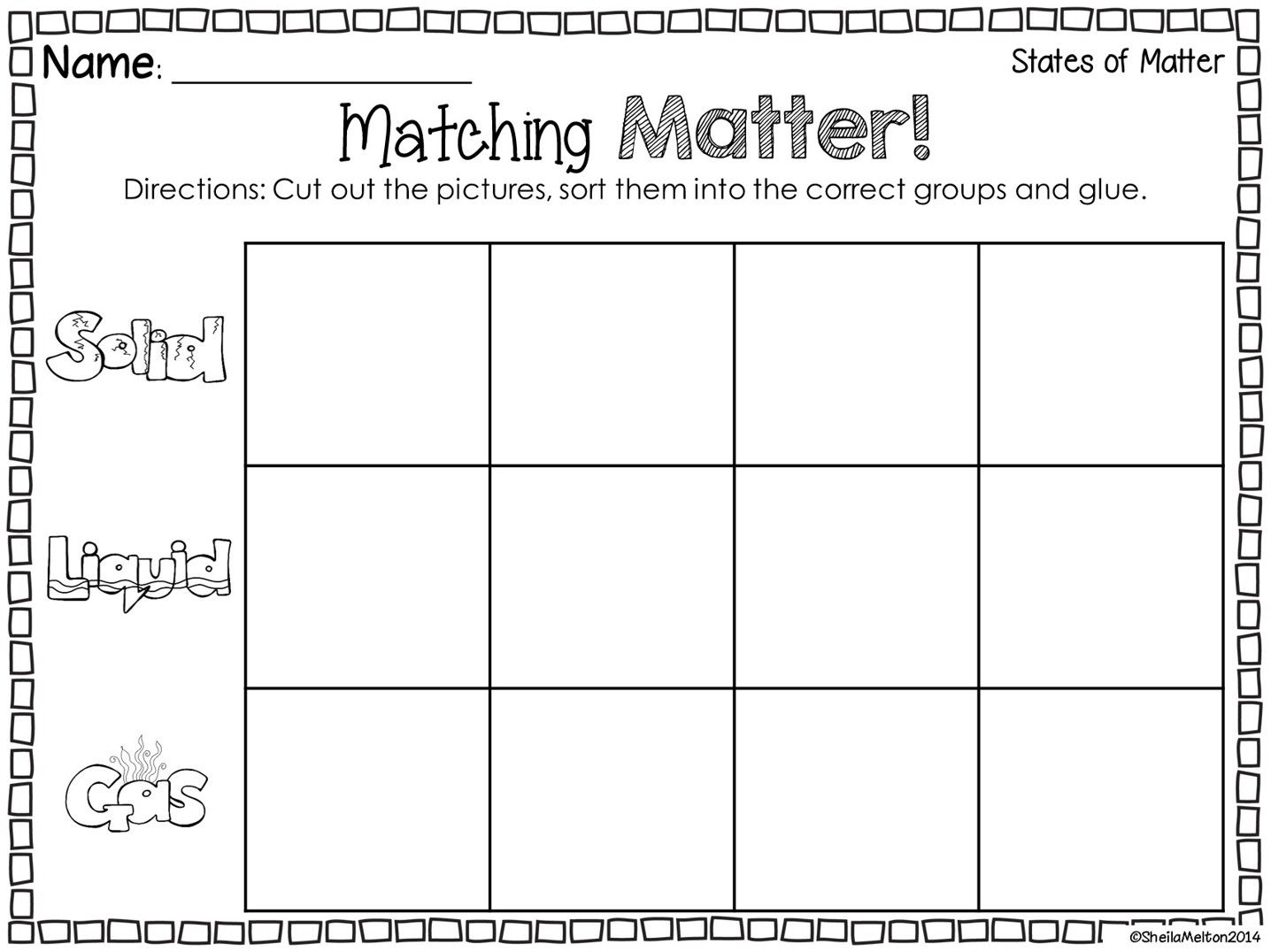 States Of Matter Freebie Sorting States Of Matter