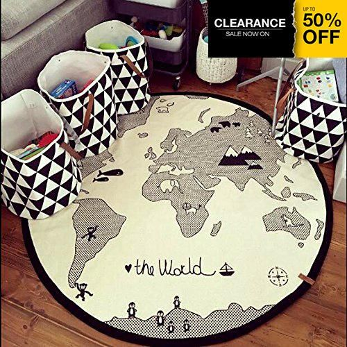 Hiltow world rug kids rug child game mats diameter 53 inches round nursery 100 cotton black and off white round rug with a printed world map prefect for little adventurers drive cars across the planet gumiabroncs Images