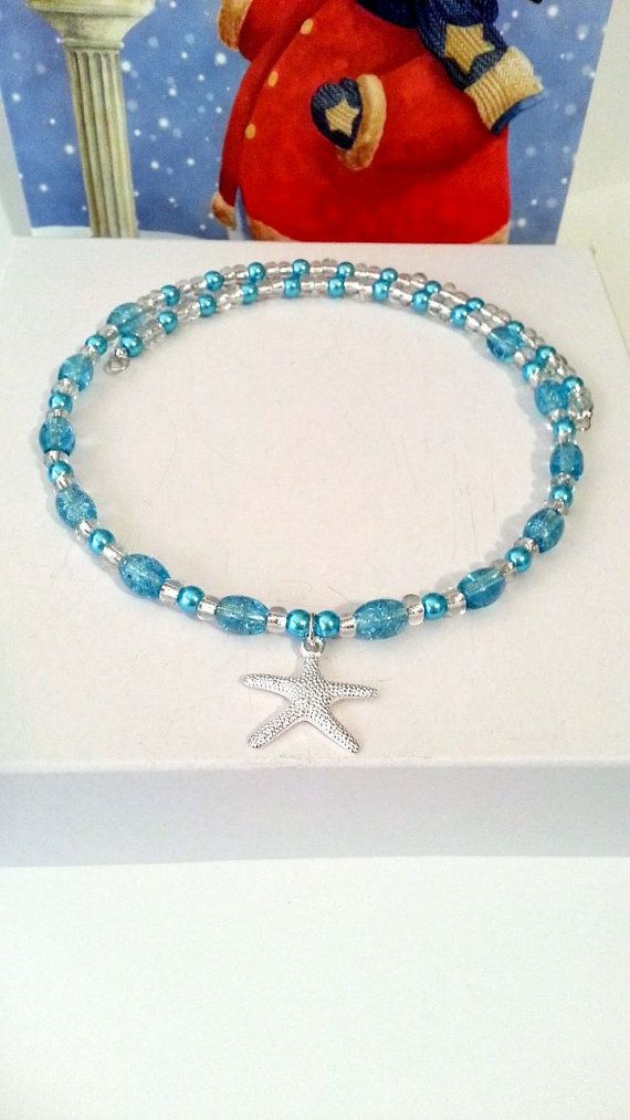 Starfish necklace memory wire choker with blue by beachseacrafts