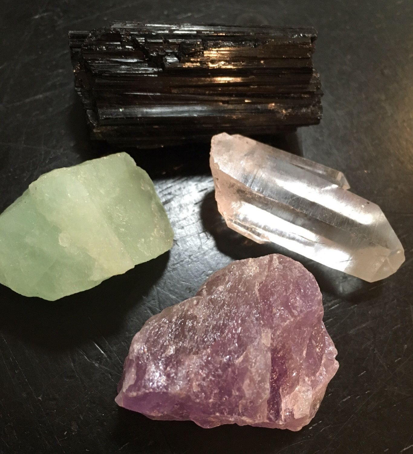 Anger and Stress relief gemstone set - Calming - healing crystals and stones - raw black tourmaline, raw amethyst, raw aquamarine, quartz by NewMoonBeginnings on Etsy https://www.etsy.com/listing/399570041/anger-and-stress-relief-gemstone-set