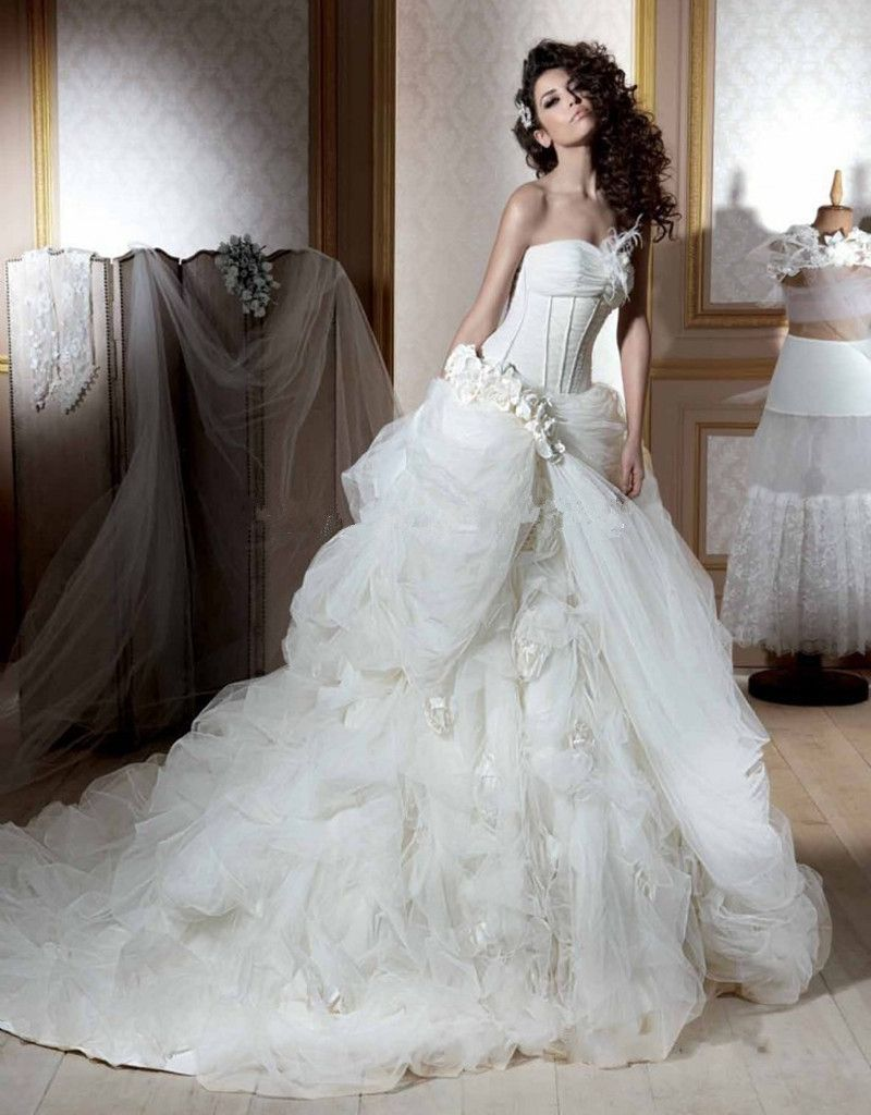 Wedding dresses with train  Tiered Tulle Wedding Dress Sleeveless ALine Wedding Dress With Long