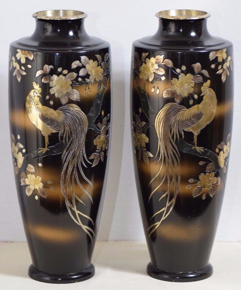 Pair of japanese vintage black and gold rooster vases inlay hand pair of japanese vintage black and gold rooster vases inlay hand painted signed reviewsmspy