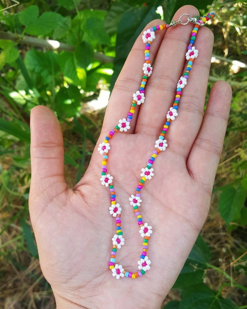 Beaded flower necklace daisy necklaces for women colors   Etsy