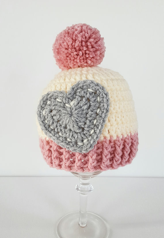 Valentine\'s day beanie - girl hats - winter crochet hat - baby hat ...