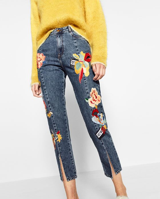 d39e2ad17f Image 2 of EMBROIDERED JEANS from Zara Pantalones Zara