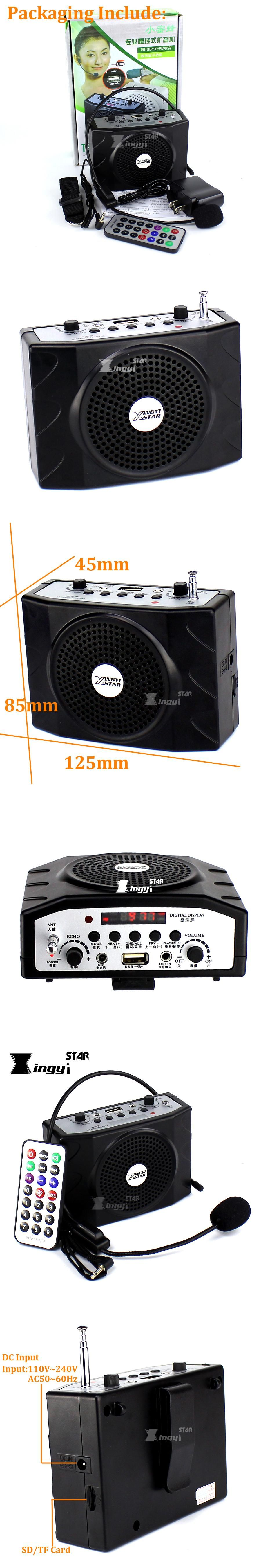 Loudspeaker With Headset Microphone Voice Amplifier Audio Booster Cheap Megaphone Portable Speaker Usb Mp3 Player Teaching Tour Guide