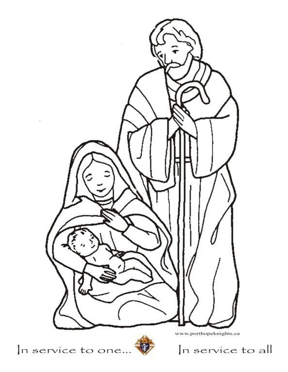 baby jesus mary and joseph large - Mary Baby Jesus Coloring Page