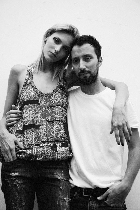 Anthony Vaccarello and Anja Rubik.