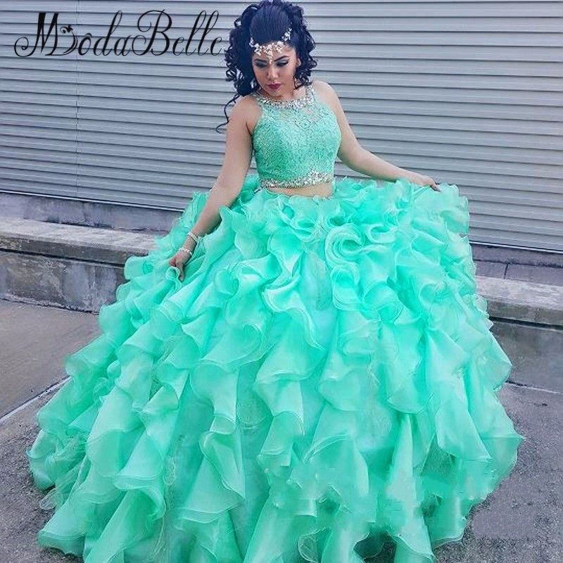 4d6a392243 Aliexpress.com   Buy Ball Gown Mint Green Quinceanera Dresses For Girl Sweet  16 Beaded Two Piece Debutante Gowns Dresses Trajes De Quinceaneras 2016  from ...