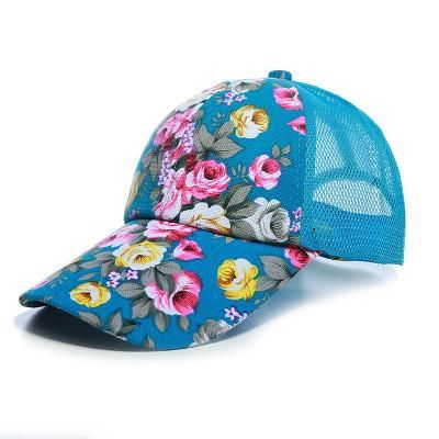 9dcfcb871a0 Summer Floral Baseball Cap Mesh Snapback Trucker Hats For Women Hip Hop  Girls Hat Fashion Print Sun Hat Cotton Outdoor Sport Cap