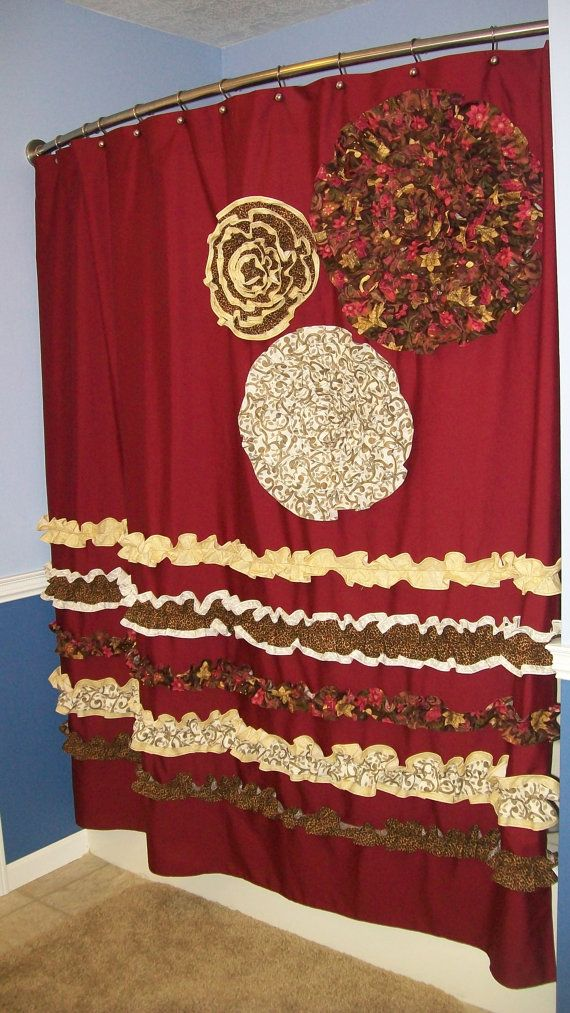 Captivating Shower Curtain Custom Made Designer Fabric Ruffles And Flowers Cheetah,  Leopard, Red, Brown, Cream
