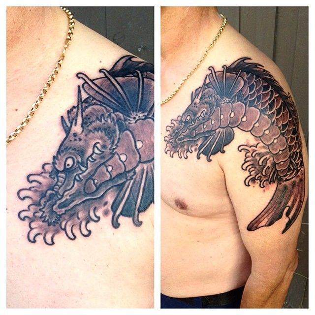 Ryan Murphy Tattoo Dragon Koi Tattoo With Finger Waves