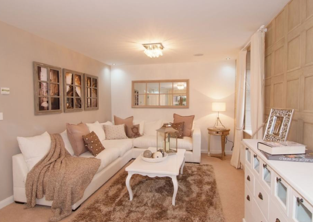 David Wilson Homes   Hadley At The Greens, Leicester Road, Hinckley.  Beautiful Interior Designed French Style Living Room With Dusty Pink And  Mink Accent ...