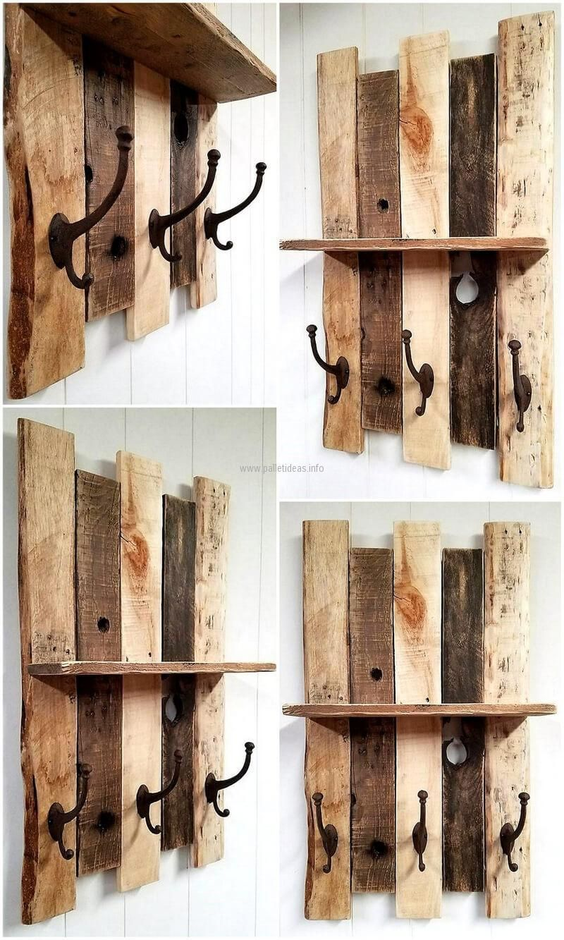 Pallet Shelf With Vintage Style Cast Iron Coat Hooks In