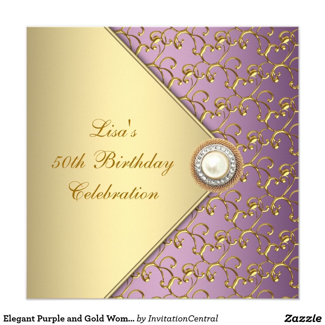 Elegant Purple and Gold Womans 50th Birthday Party Card | 50 ...