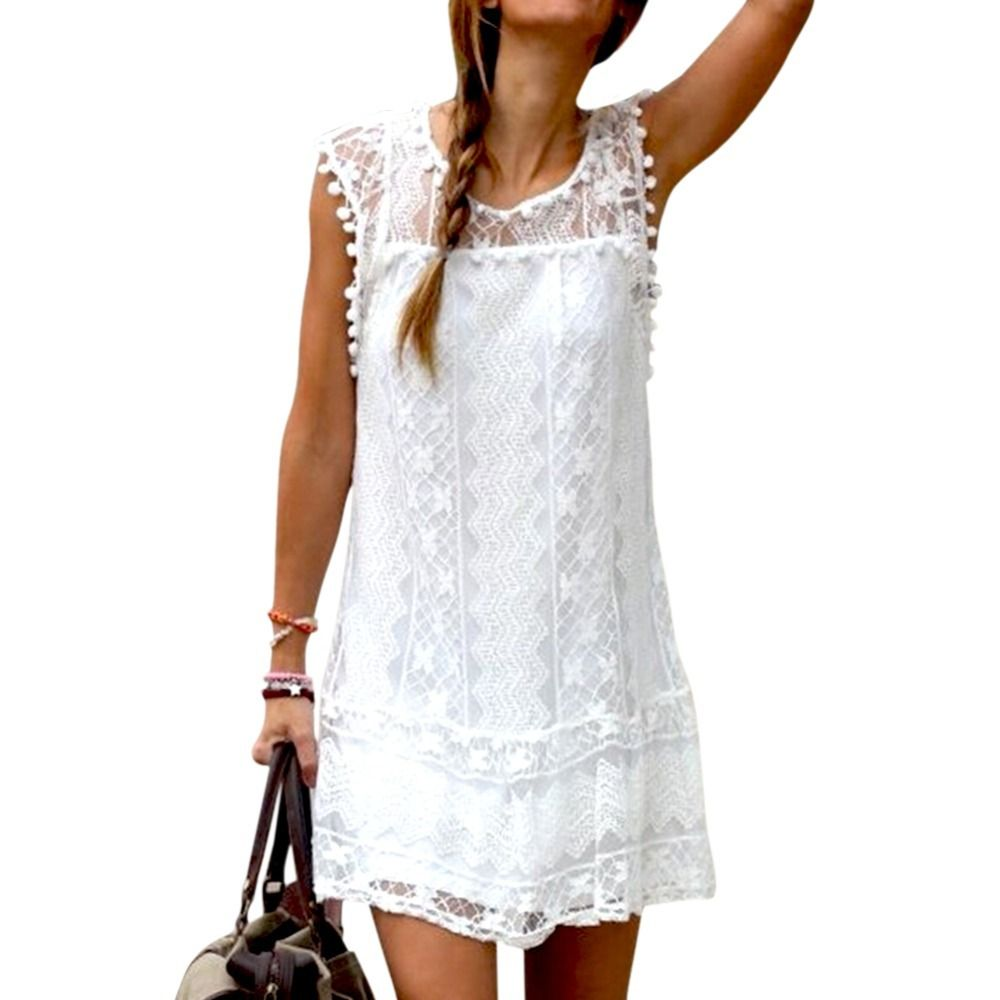 White lace floral women ladies dress sleeveless casual short super