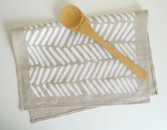 Linen Chevron Tea Towel