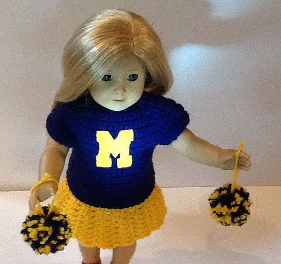 18 Inch Doll Cheerleader/ Crochet Doll Clothes/ Girl Gift/ Girl Birthday/ Handmade Doll Outfit/ Fits American Girl/ 18 inch Cheerleader #18inchcheerleaderclothes