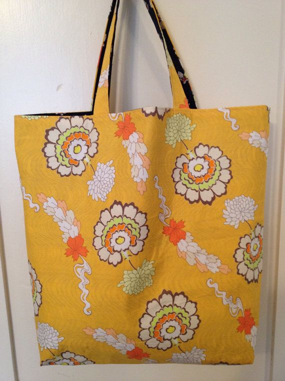 Dahlias & Dapper Rabbits Reversible Tote Bag Japanese by WindPoppy, $55.00