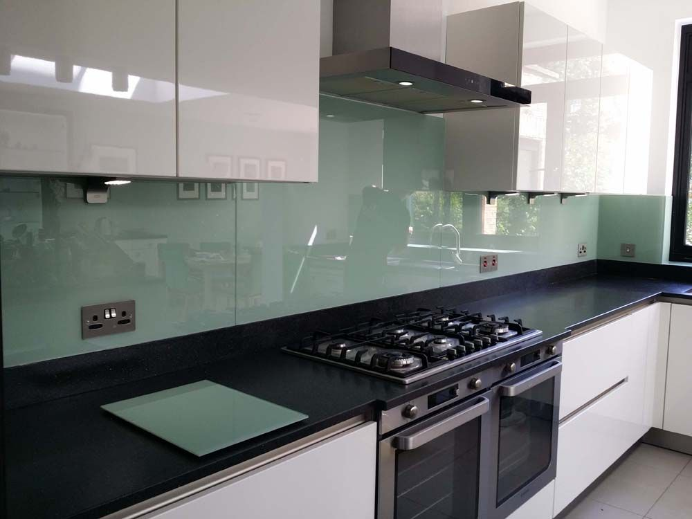 Tuscan glade glass colour kitchen splashback by creoglass for London kitchen decor