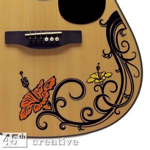 Hibiscus Flower Acoustic Guitar Decal Fender Starcaster Squire Custom Sticker Guitar Stickers Fender Starcaster Guitar Inlay