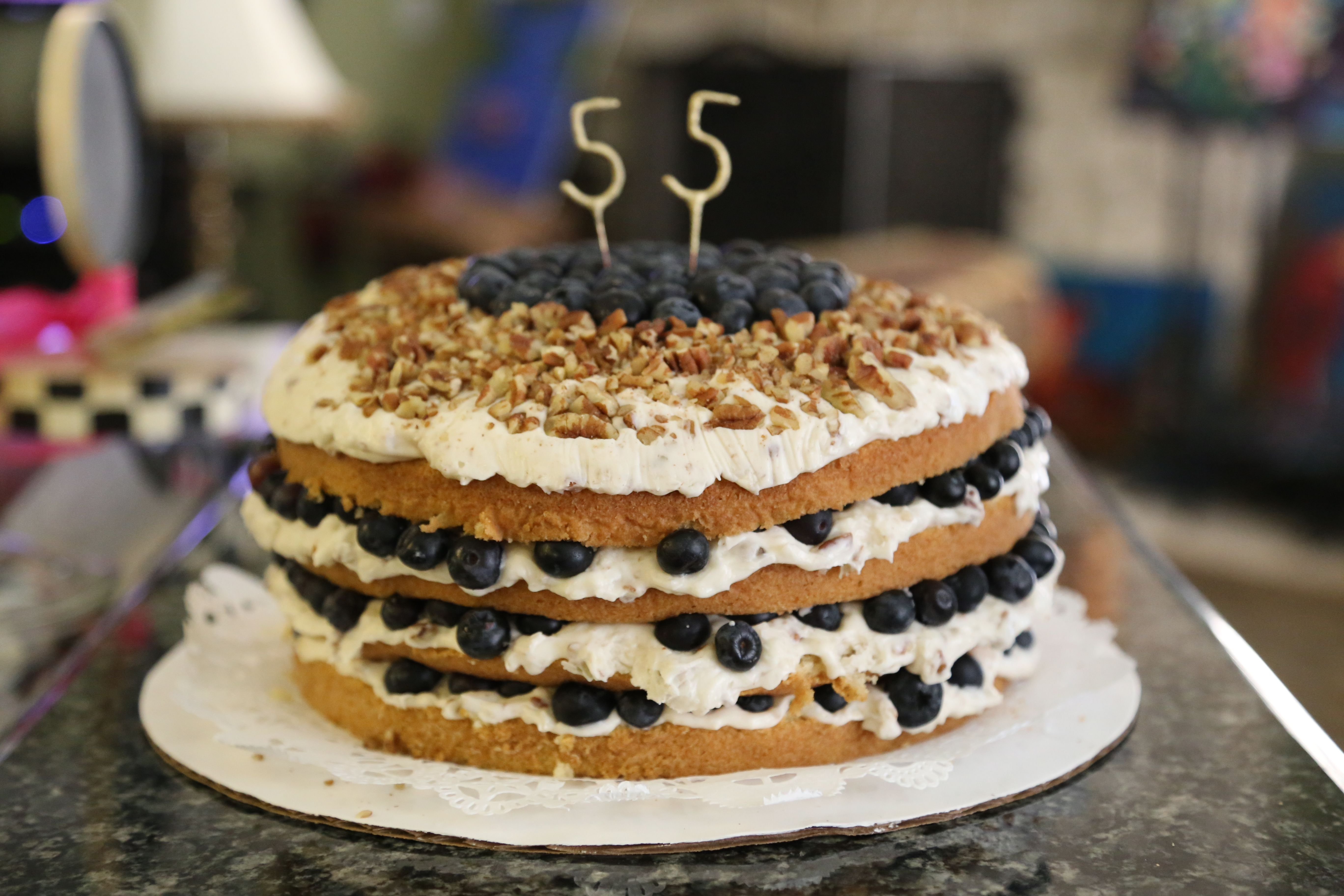 Happy Birthday Cake!!  Made from the Pioneer Woman's recipe!!  Blueberry Italian Cream.....fabulously delicious!!