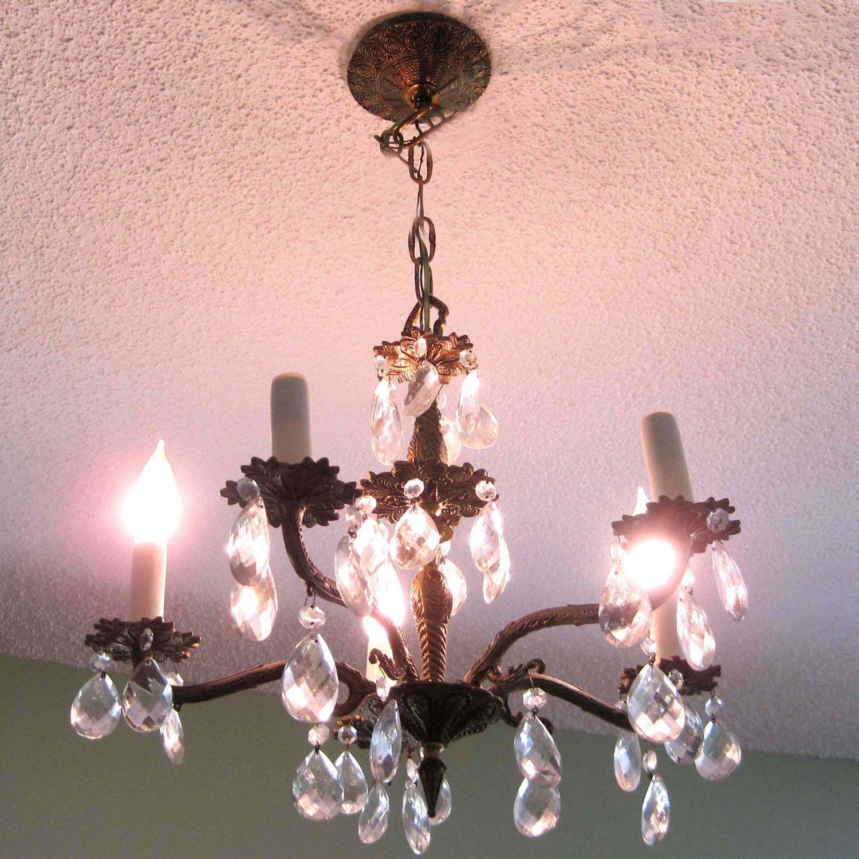 Vintage crystal chandelier 3 tier prisms 5 arms shabby chic vintage crystal chandelier 3 tier prisms 5 arms shabby chic chandelier regency french arubaitofo Images