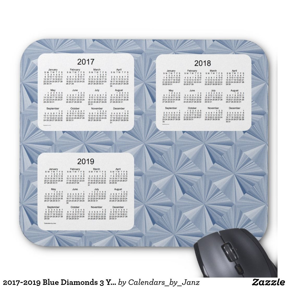 2017-2019 Blue Diamonds 3 Year Calendar by Janz Mouse Pad