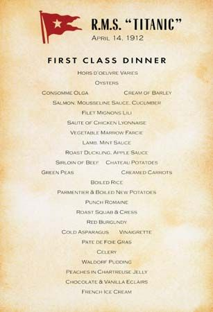 Photograph The Titanic 39 S First Class Dinner Menu For April