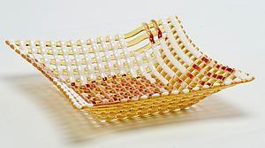 Light Amber Double Wave Square Glass Basket: Ed Edwards: Art Glass Bowl | Artful Home