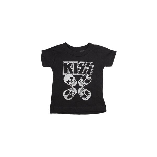 Kiss Skulls Black & Silver T-shirt ($22) ❤ liked on Polyvore featuring baby, kids and kids clothes