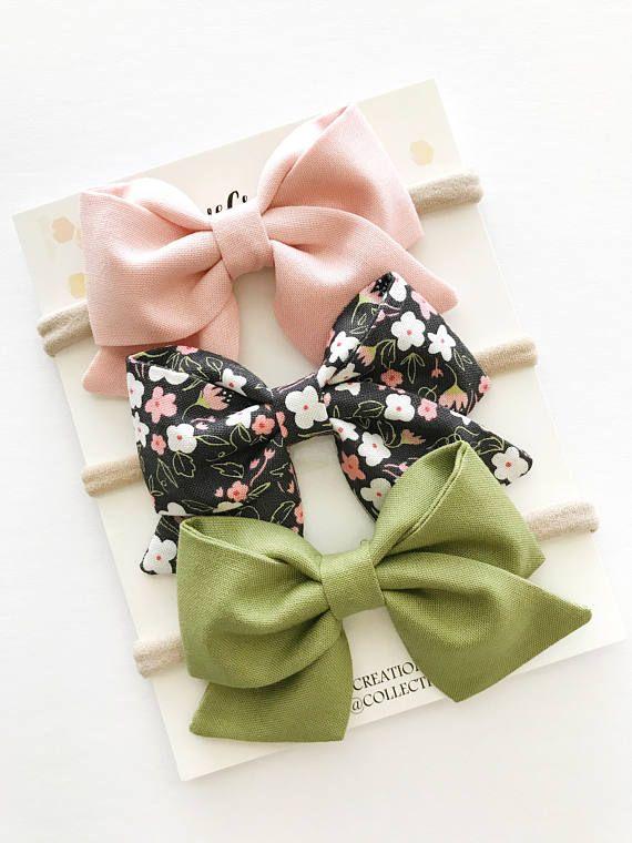 25580b9e5621 Bow Headband - Baby Bow Headbands - Sailor Bows - Pink Baby Bow - Nylon  Headbands - Olive Baby Headband - Fall Bows - Hair Bow Clip - Baby