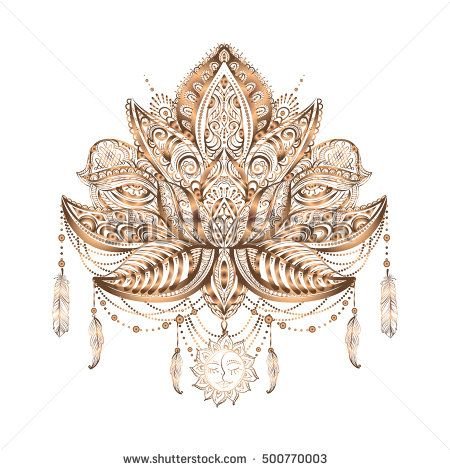 Hand Drawn Ornate Vector Ornamental Lotus Tattoo With Elements Of