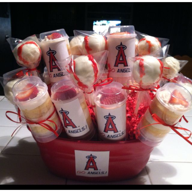 Angels Baseball Cake Pops And Cupcake Push Up Pops With Images