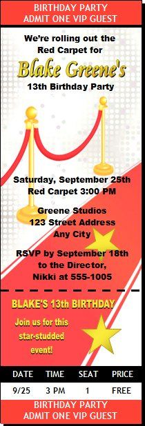 Red carpet birthday party invitations images coloring pages adult hollywood red carpet birthday party ticket invitation set of 12 filmwisefo