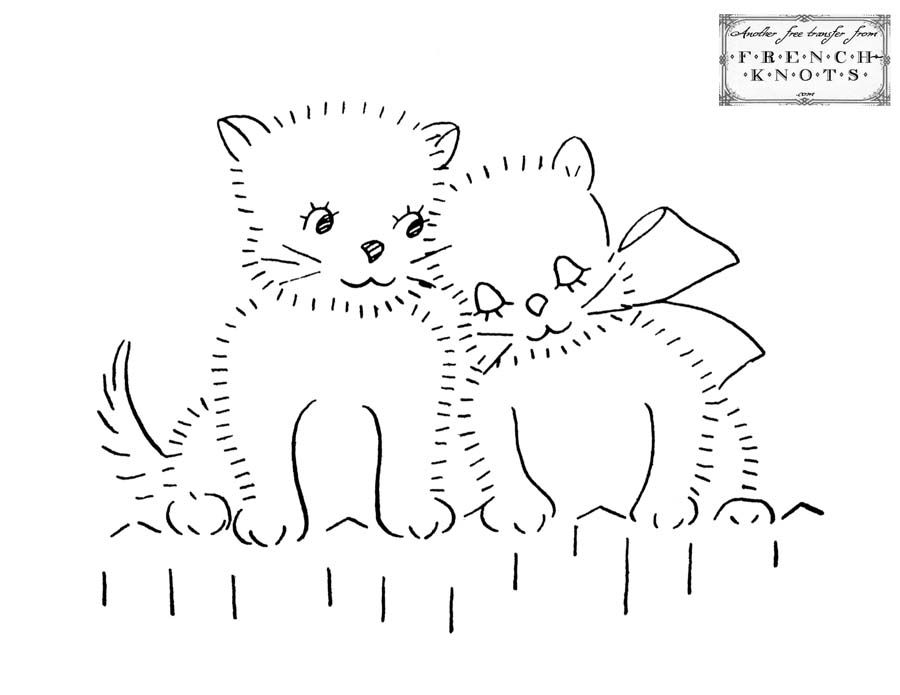 Cats And Kittens Embroidery Patterns Christmas Crafts Pinterest