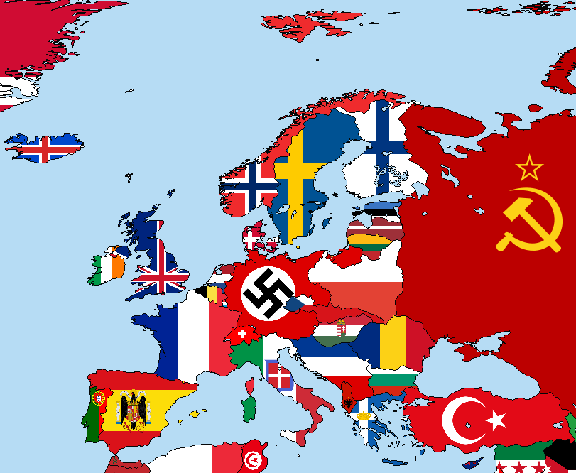 Europe Flag Map 1938 Maps And Flags Flag Map Poster
