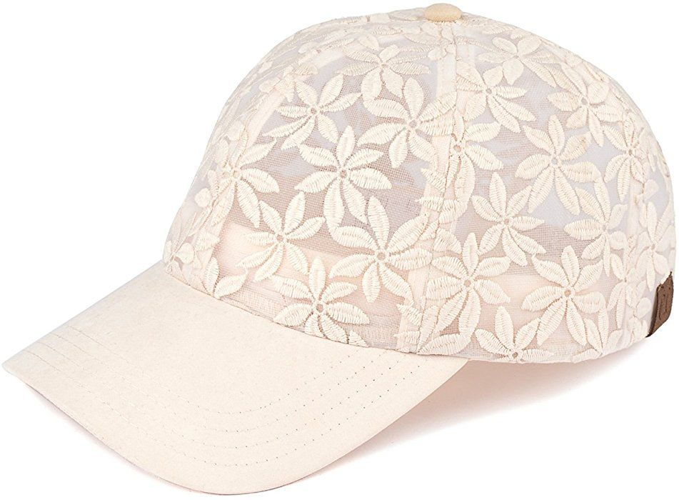 2ced2509061 H-6053-60 Floral Print Baseball Cap - Sheer Daisy (Beige) at Amazon Women s  Clothing store