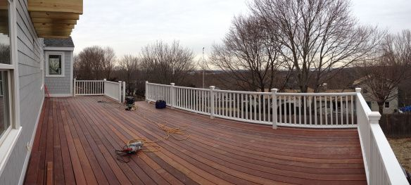 Deck Stain Color Looks Great With Grey Siding And White Railing