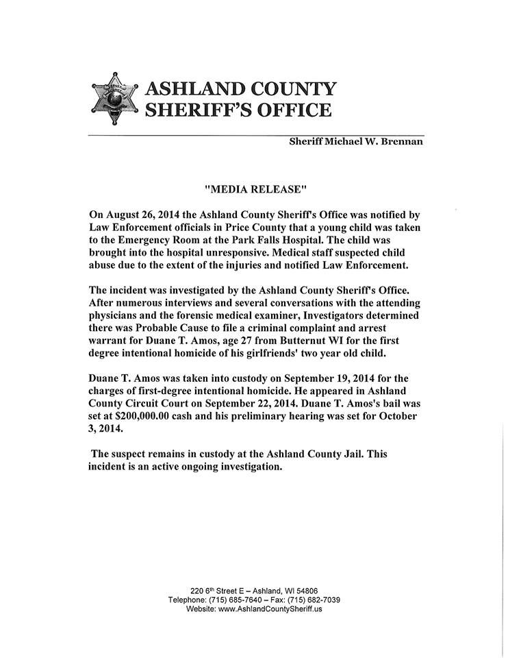 Ashland, WI police report on murder of little boy Wisconsin - forensic report
