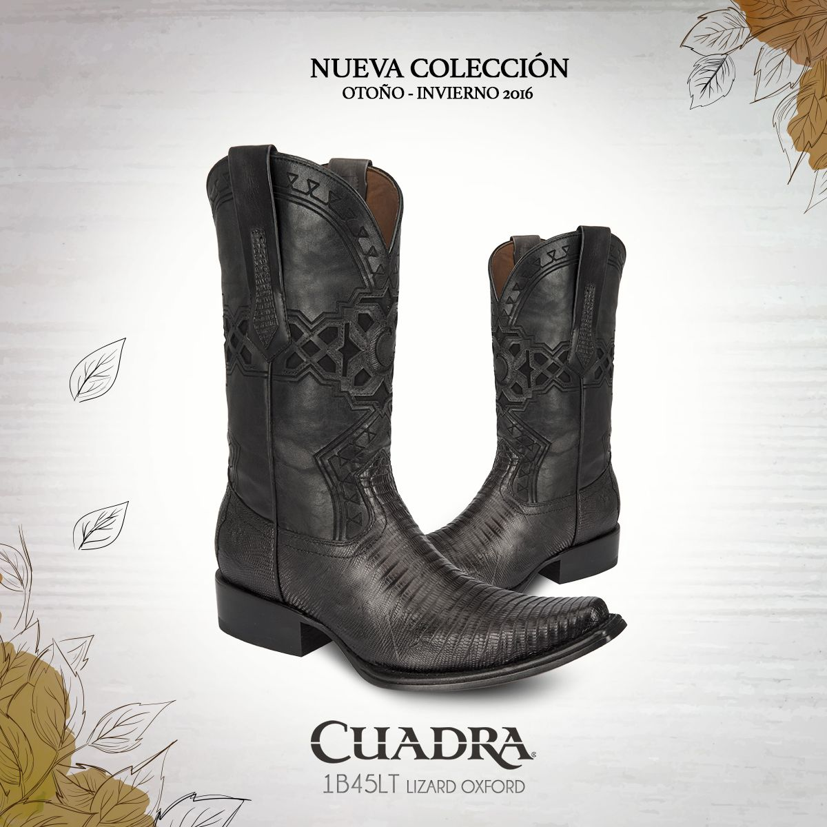 BOTA CUADRA ~ Bota tradicional de piel genuina de lizard con