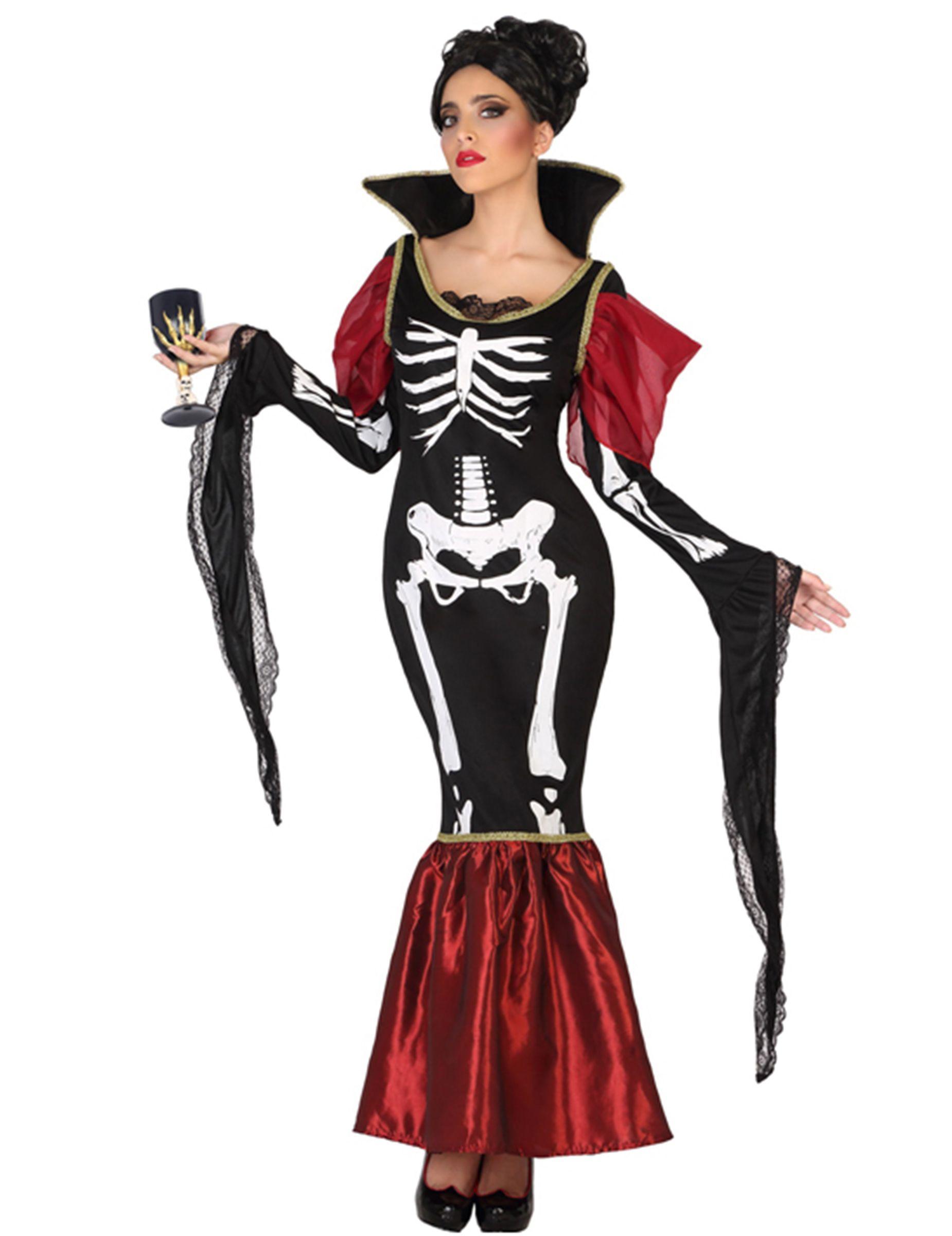 Costume vampiro scheletro donna halloween  Un travestimento da scheletro  vampiro per donna composto da un 0c0b2585ab69